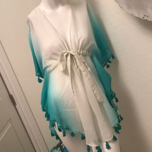Adorable white/mint ombré beach coverup. Size S